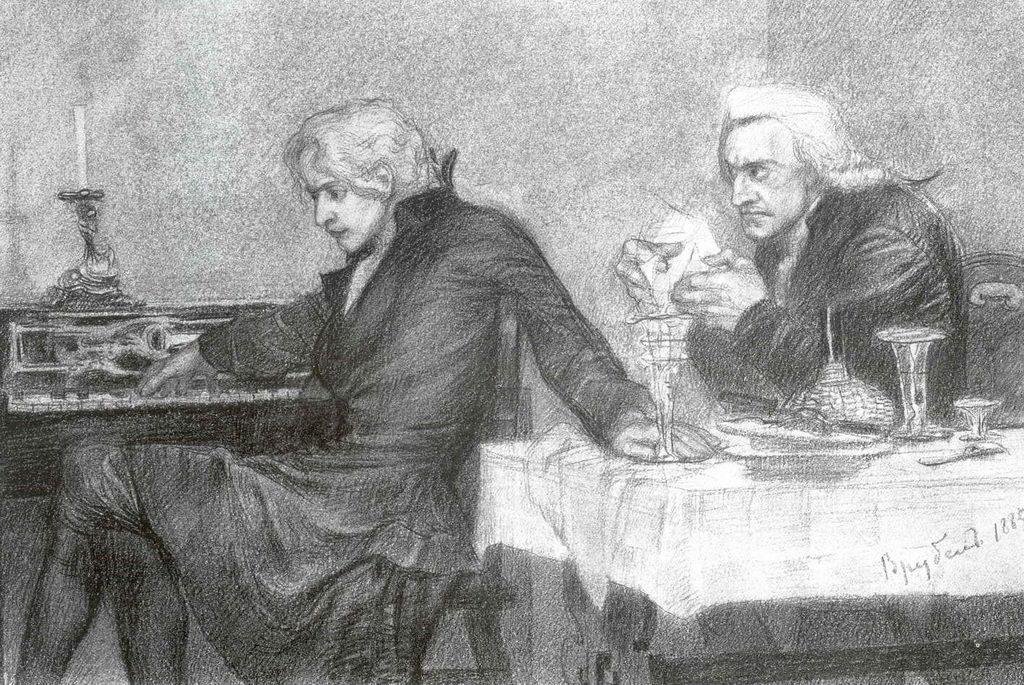 Сальери всыпает яд в бокал Моцатра — Врубель Михаил Александрович