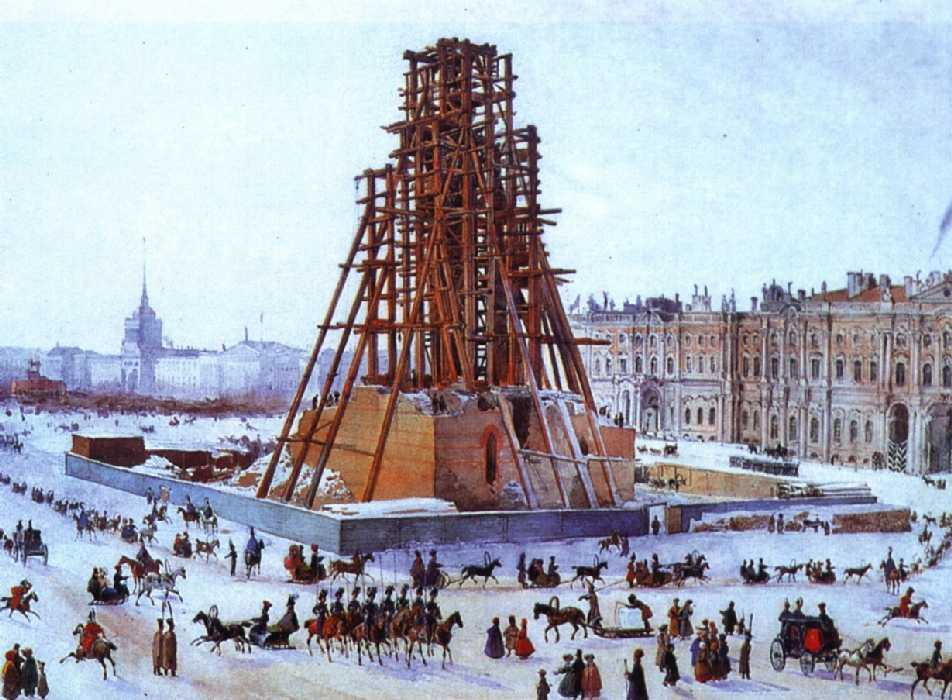 Александровская колонна в строительных лесах — Гагарин Григорий Григорьевич