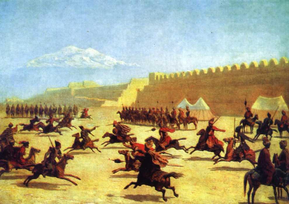 Джигитовка курдов и татар перед крепостью Сардар-Аббат в Армении — Гагарин Григорий Григорьевич