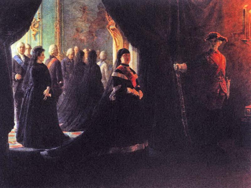 Екатерина  у гроба императрицы Елизаветы — Ге Николай Николаевич