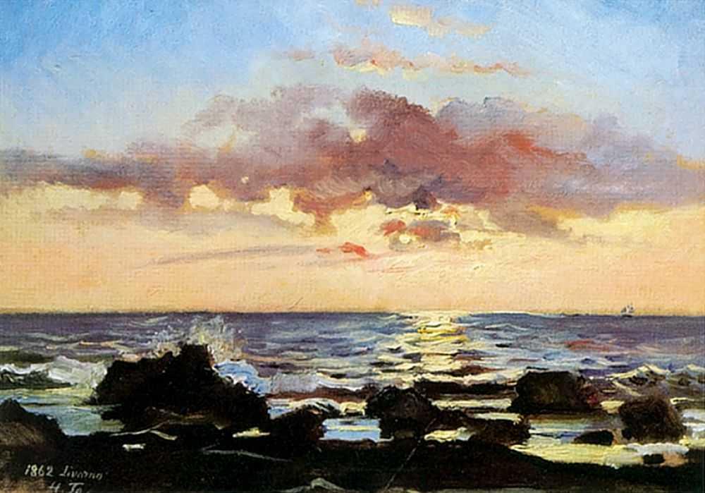 Закат на море в Ливорно — Ге Николай Николаевич