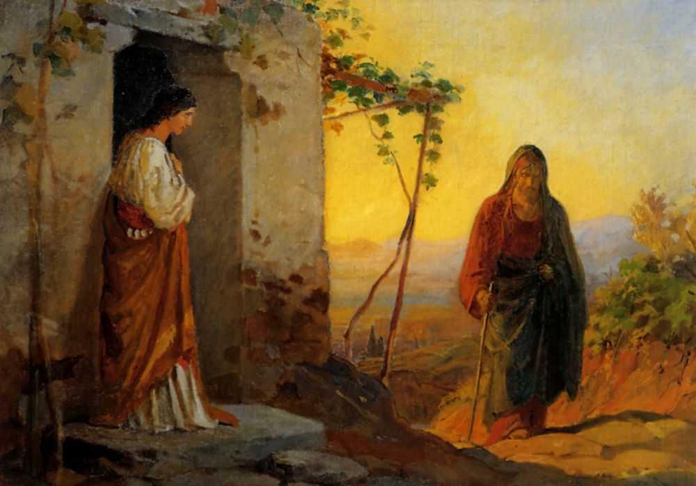 Мария, сестра Лазаря, встречает Иисуса Христа, идущего к ним в дом — Ге Николай Николаевич