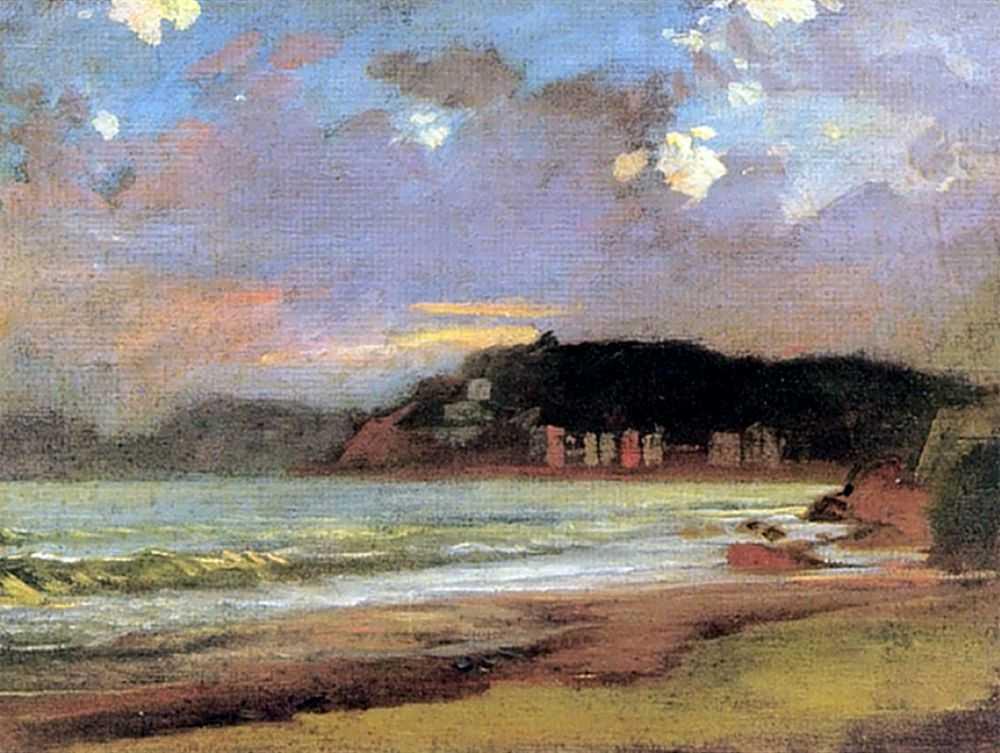 Морской залив в Ливорно. Закат солнца — Ге Николай Николаевич