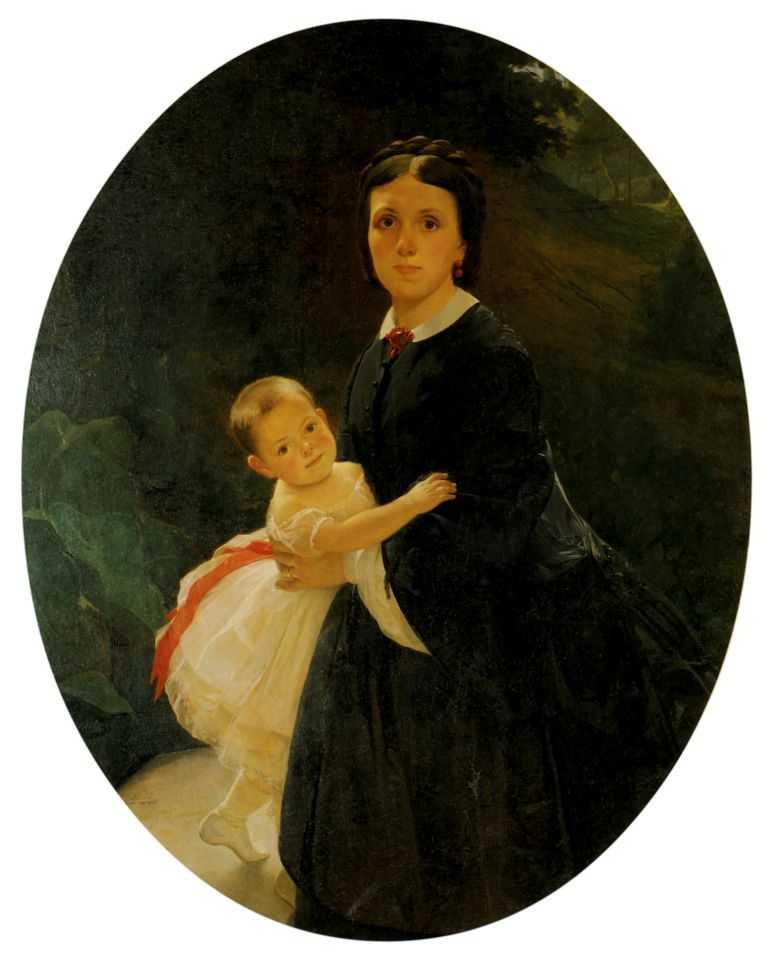 Портрет Шестовой с дочерью — Ге Николай Николаевич