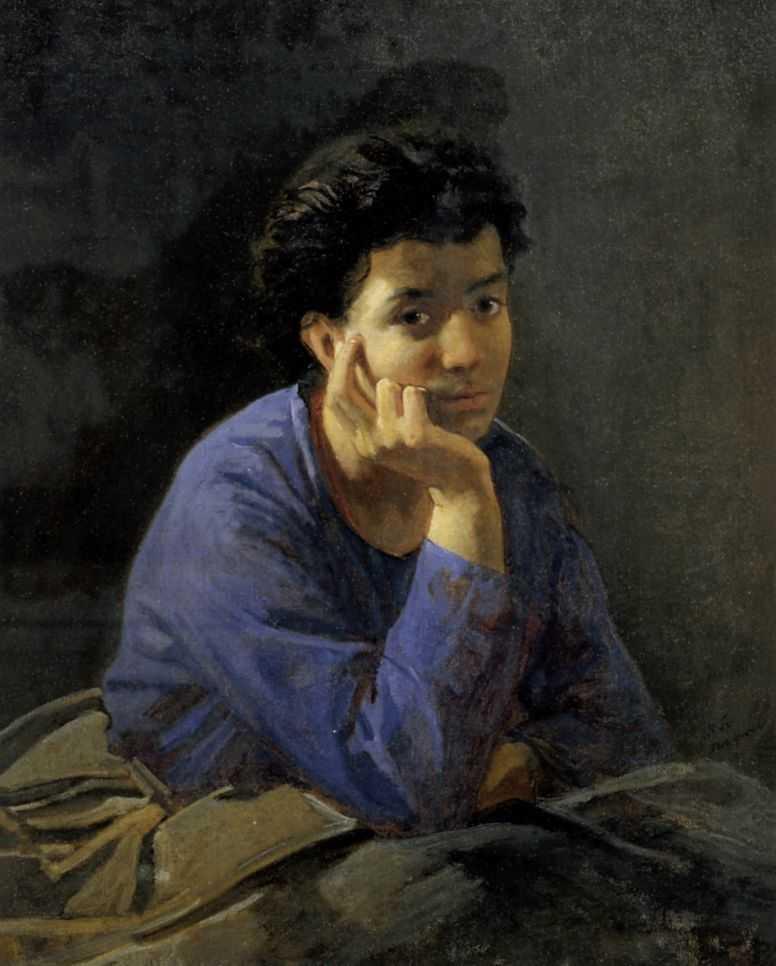 Портрет неизвестной в голубой блузе — Ге Николай Николаевич