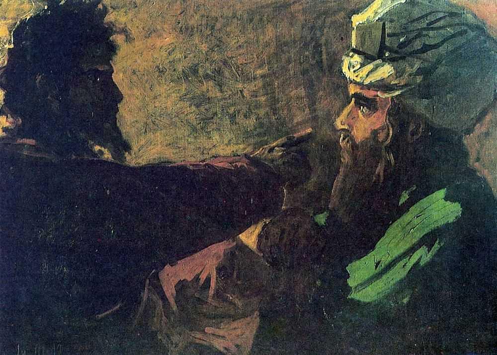 Христос и Никодим. Эскиз — Ге Николай Николаевич