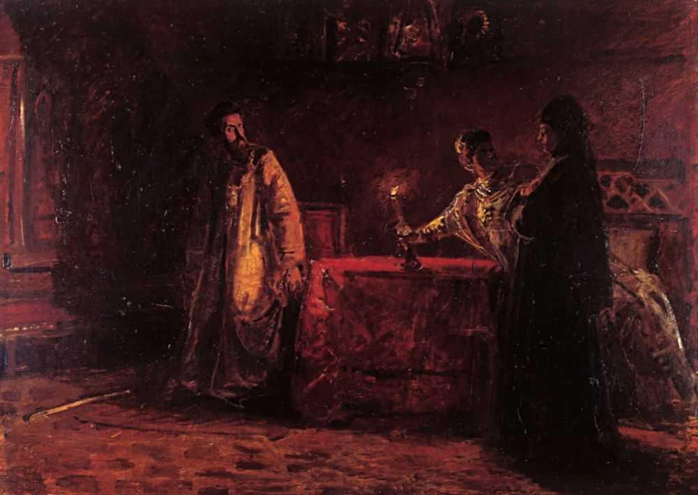 Царь Борис и царица Марфа. Эскиз неосуществленной картины — Ге Николай Николаевич