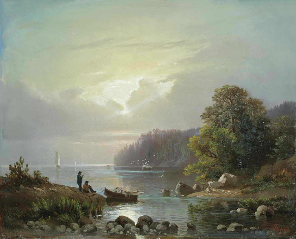 Пейзаж с рыбаками — Гине Александр Васильевич