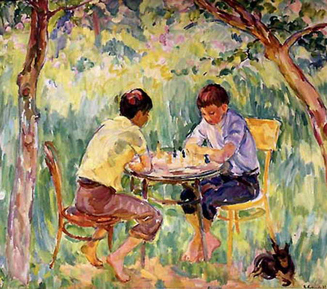 Мальчики в саду — Антипова Евгения Петровна