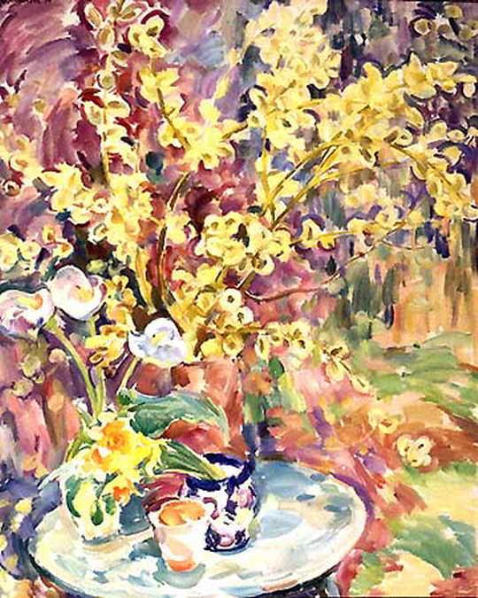 Натюрморт. Цветушая ива, каллы, нарциссы — Антипова Евгения Петровна
