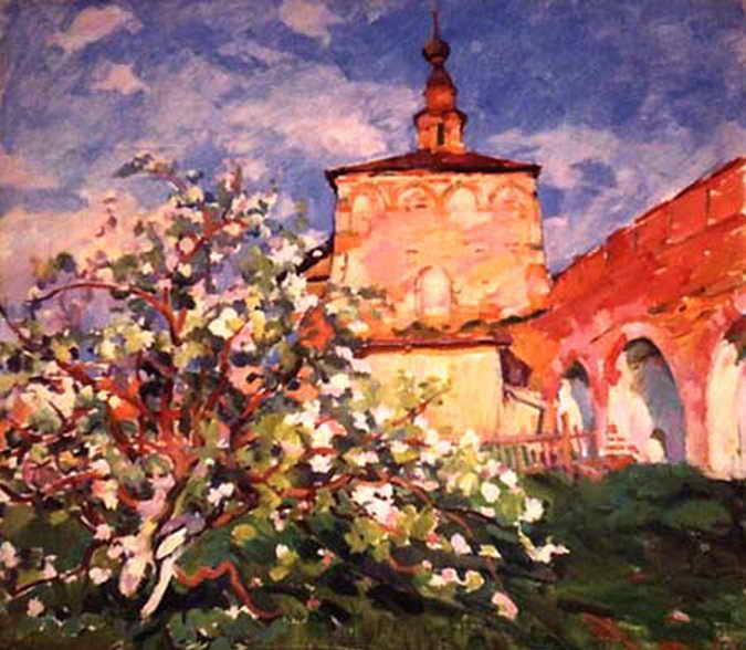 Пейзаж с яблоней — Антипова Евгения Петровна