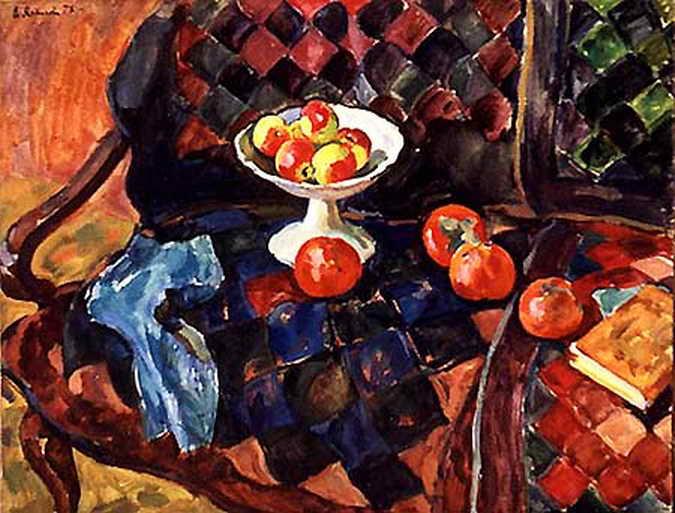 Яблоки и хурма на диване — Антипова Евгения Петровна