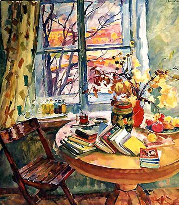 Книги у окна. — Антипова Евгения Петровна