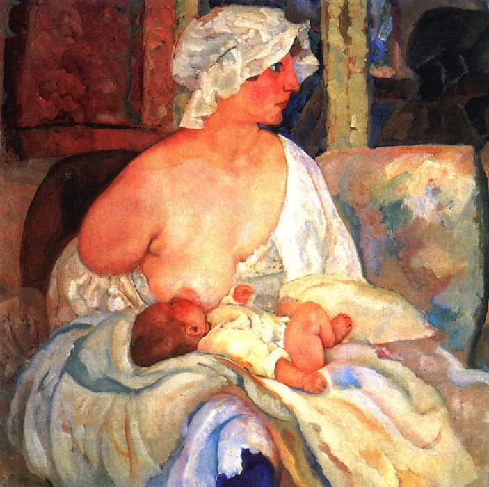 Мать (Е. Г. Григорьева, жена художника, с сыном Кириллом). — Григорьев Борис Дмитриевич