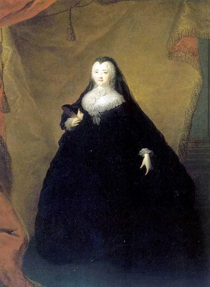 Портрет Елизаветы Петровны в черном маскарадном домино с маской в руках — Гроот Георг Кристофор