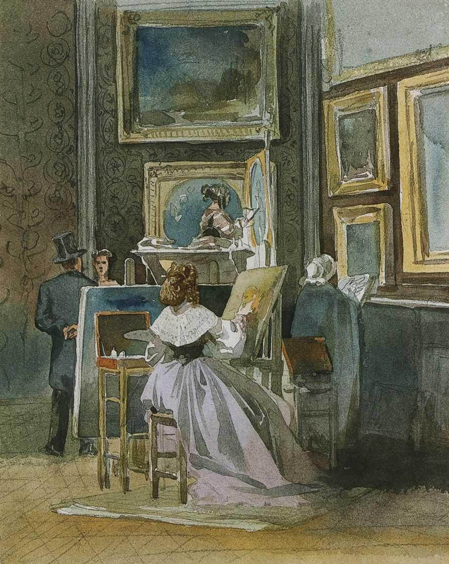 Копировальщица в картинной галерее — Гун Карлис Фридрихович (Карл Федорович)