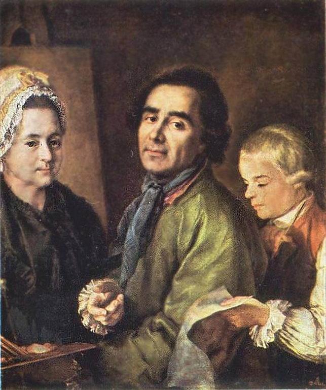 А.П.Антропов с сыном, перед портретом жены — Антропов Алексей Петрович