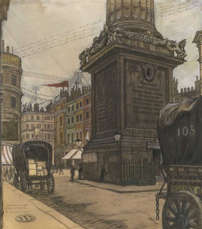Лондон. Монумент — Добужинский Мстислав Валерианович