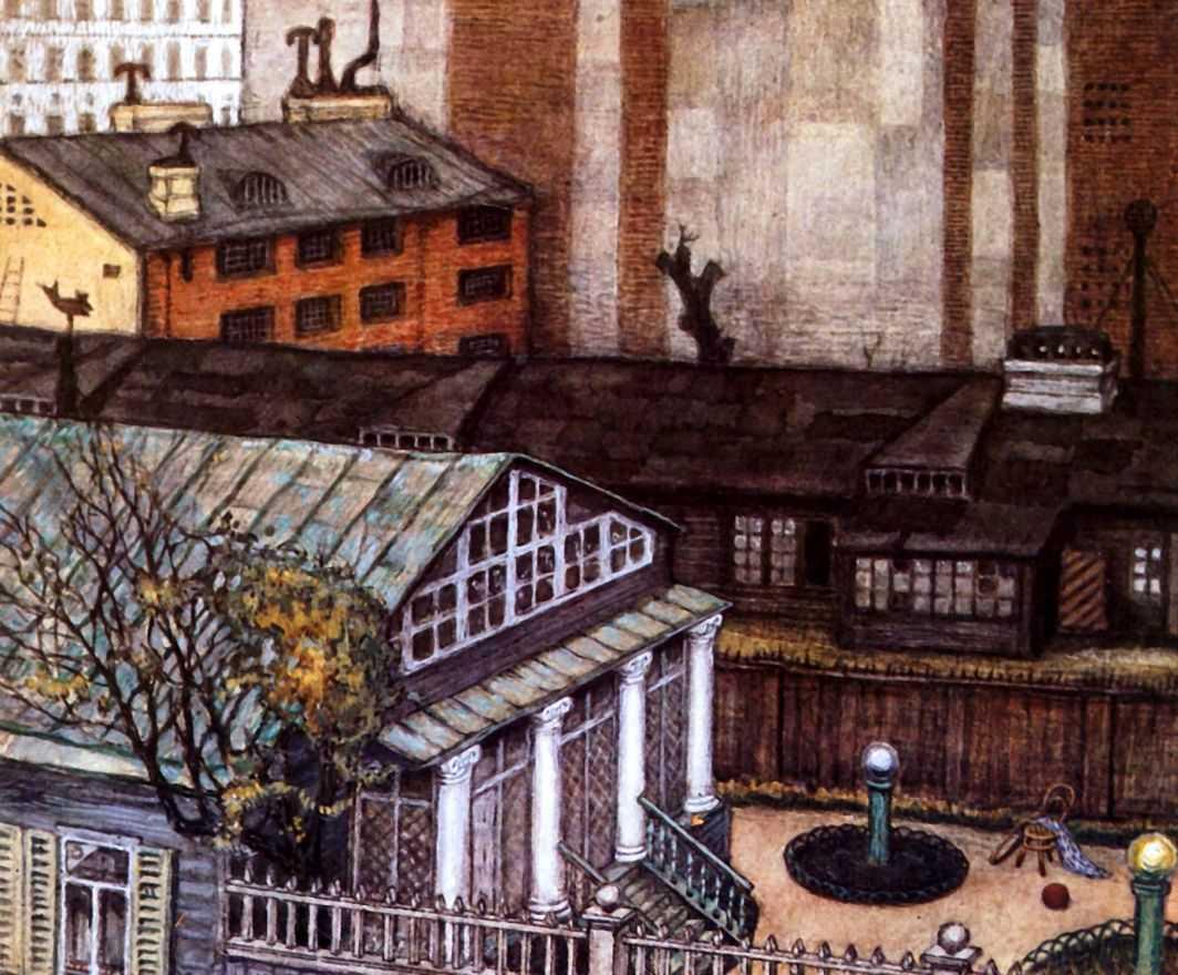 Садик в городе — Добужинский Мстислав Валерианович