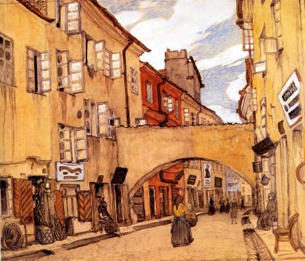 Стеклянная улица в Вильно — Добужинский Мстислав Валерианович