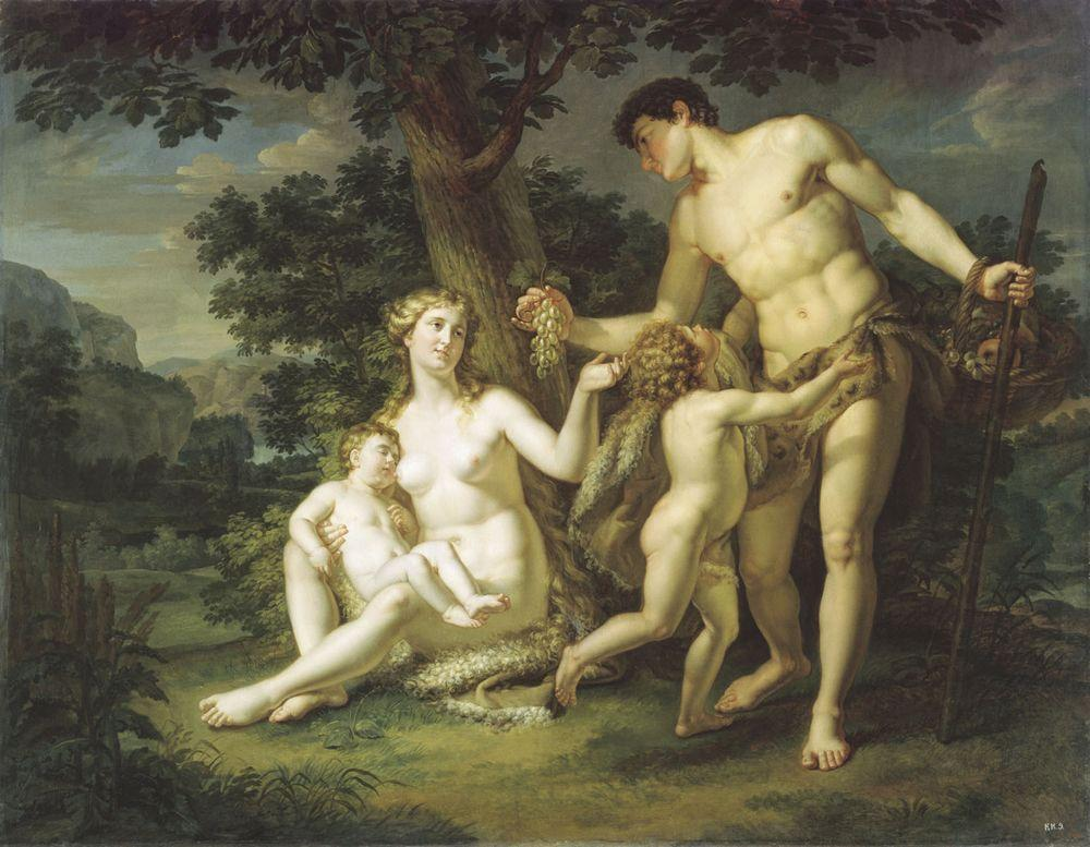 Адам и Ева с детьми под деревом — Иванов Андрей Иванович