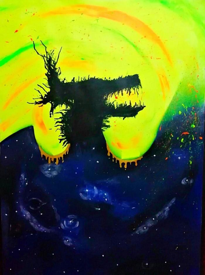 Три работы по живописи. Абстрактное видение 1- Себя, 2-Друга ( Конечно же Ланисия ), 3-Известная личность или персонаж ( Горыныч змей или Кинг Гидора). Понимайте как хотите ;3, но моя работа светится в темноте и светится под ультрафиолетом. Во 2 работе использована техника изонити. 3- шёлковая бумага, чёрный горячий клей, кварцевый песок, поедки в виде чешуи. | Author: Полина Небоженко