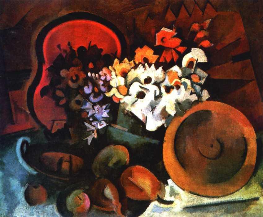 Большой натюрморт с искусственными цветами, красным подносом и деревянной тарелкой — Куприн Александр Васильевич