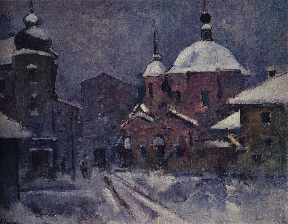 Городской пейзаж с розовой церковью. Сумерки — Куприн Александр Васильевич
