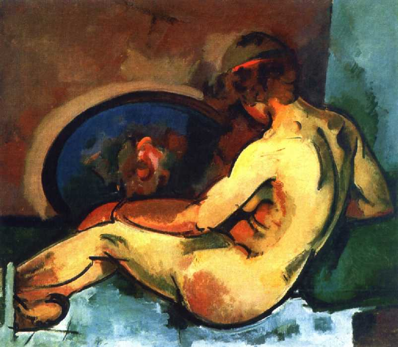 Обнаженная натурщица с красной ленточкой в волосах и с синим подносом — Куприн Александр Васильевич