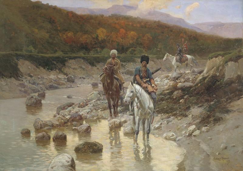 Казаки у горной речки — Рубо Франц Алексеевич