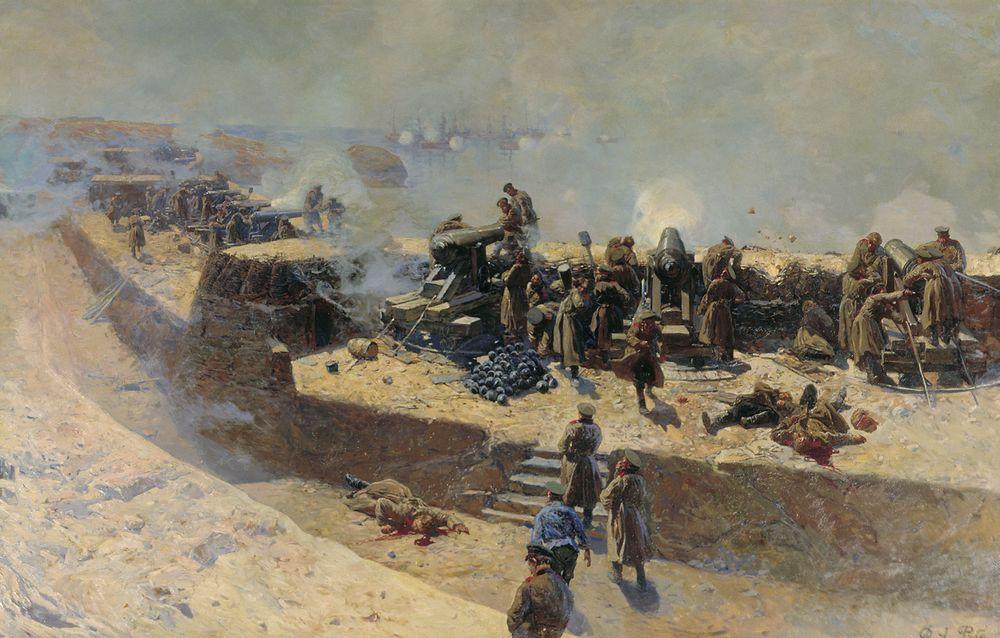 Отражение бомбардировки англо-французского флота со стороны Александровской батареи 5 октября 1854 года — Рубо Франц Алексеевич