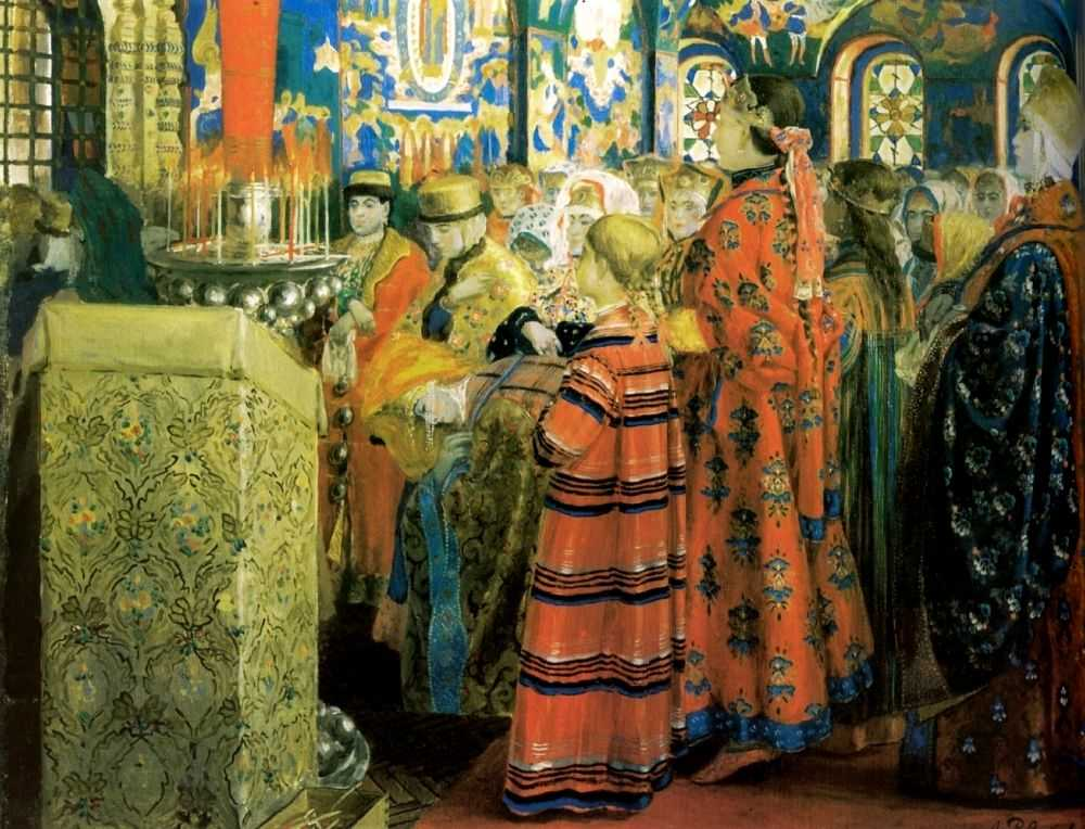 Русские женщины 17 столетия в церкви — Рябушкин Андрей Петрович