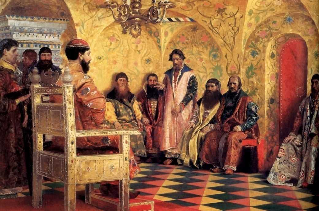 Сидение царя Михаила Федоровича с боярами в его государевой комнате — Рябушкин Андрей Петрович