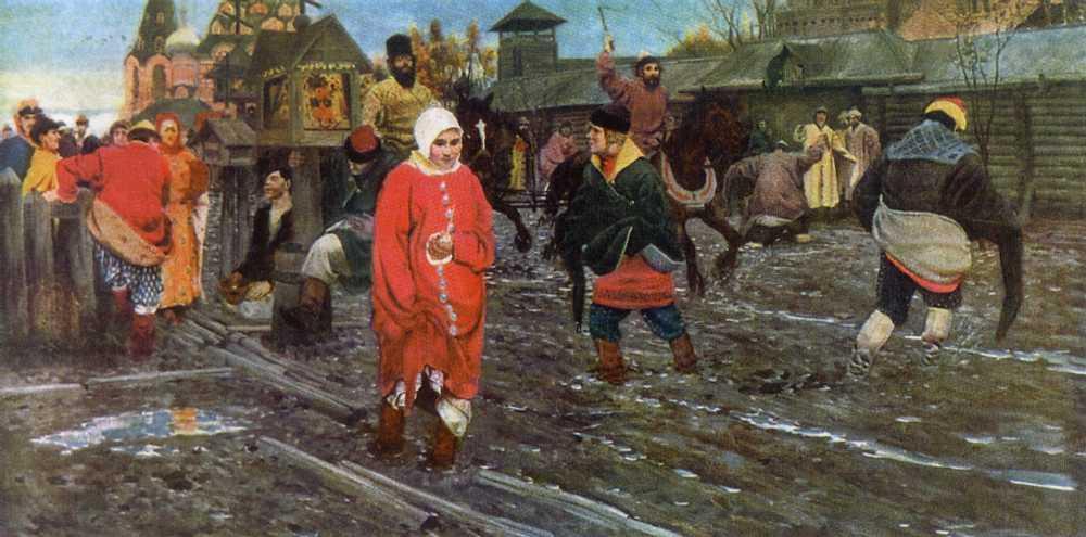 Московская улица XVII века в праздничный день — Рябушкин Андрей Петрович