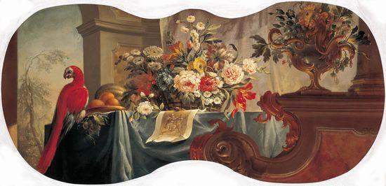 Цветы, фрукты, попугай — Бельский Алексей Иванович