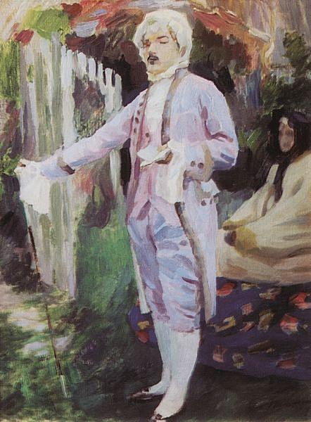 Кавалер, читающий стихи — Борисов-Мусатов Виктор Эльпидифорович