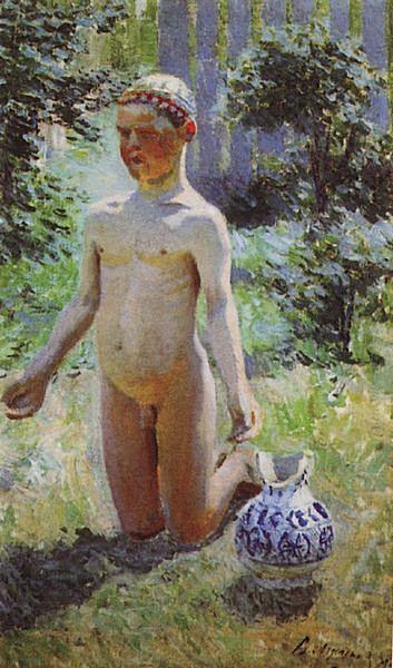 Мальчик около разбитого кувшина — Борисов-Мусатов Виктор Эльпидифорович